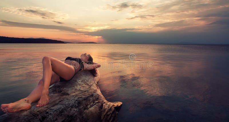 La belle fille dans le bikini se trouve sur un tronc d'arbre au coucher du soleil photo libre de droits