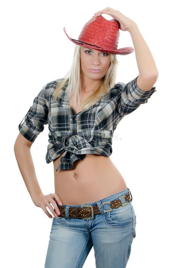 La belle fille dans un chapeau de cowboy images libres de droits