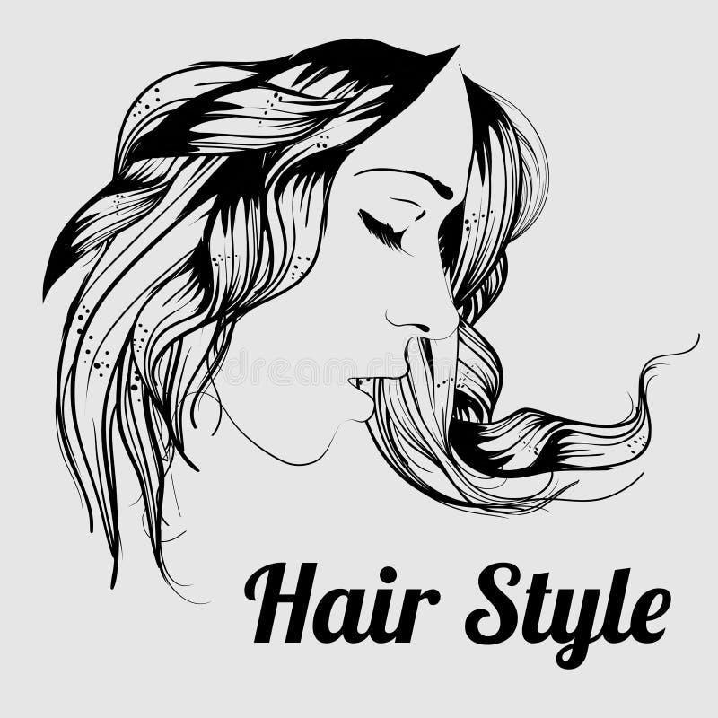 La belle fille de brune avec la coiffure et composent d'isolement sur le fond blanc Femme sexy illustration libre de droits