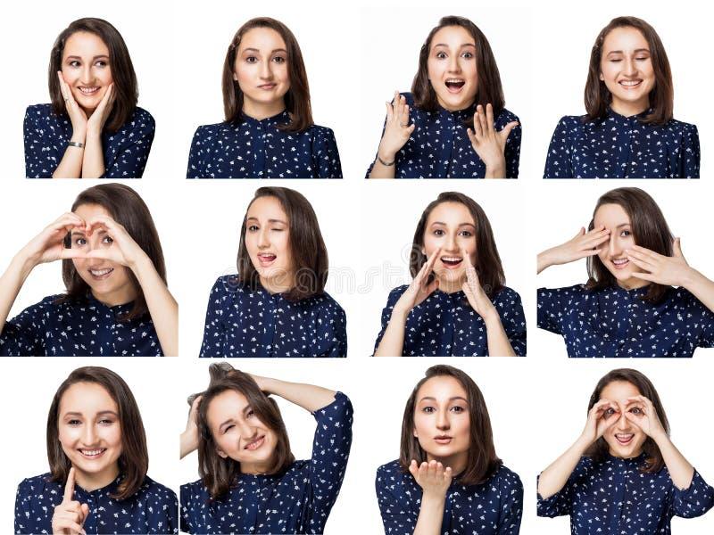 La belle fille de brune dans le chemisier bleu montre une mer des émotions positives dans le collage images stock