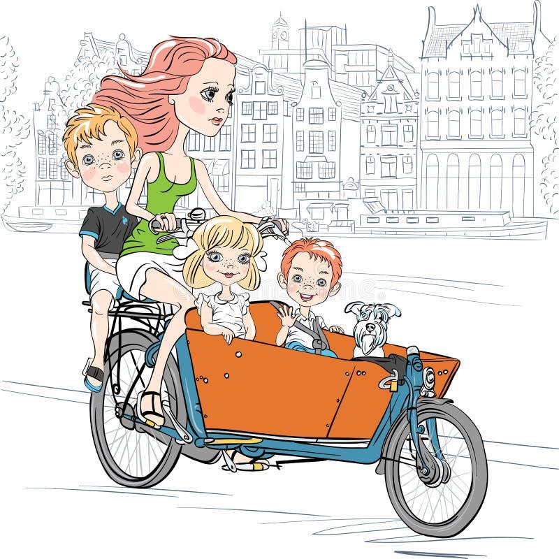 La belle fille de vecteur porte l'enfant sur le vélo à Amsterdam illustration de vecteur
