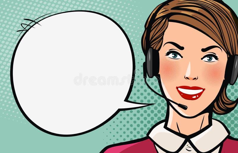 La belle fille ou jeune femme avec le casque dit Centre d'appels, appui, concept d'affaires Illustration de vecteur de dessin ani illustration de vecteur
