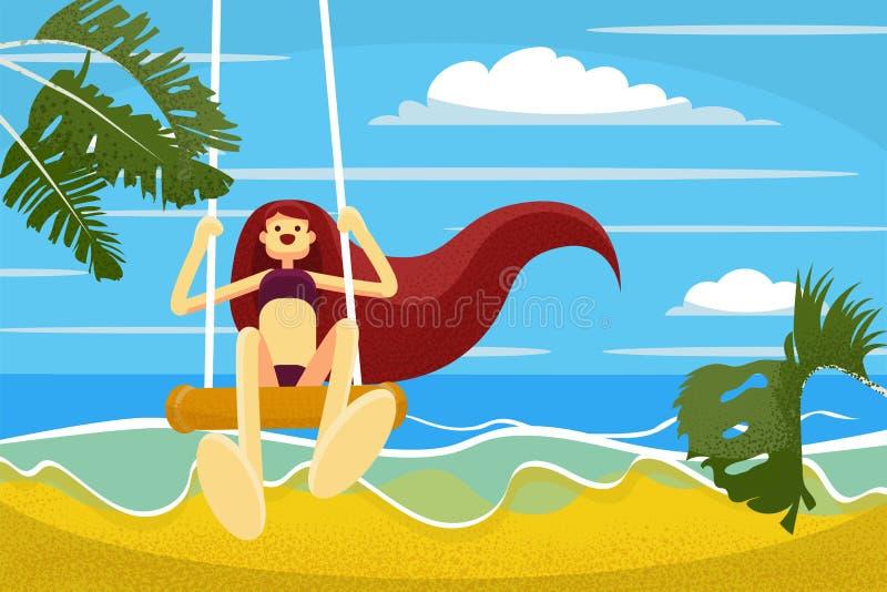 La belle fille plate tirée par la main de style avec de longs cheveux apprécie le jour d'été par la mer illustration de vecteur