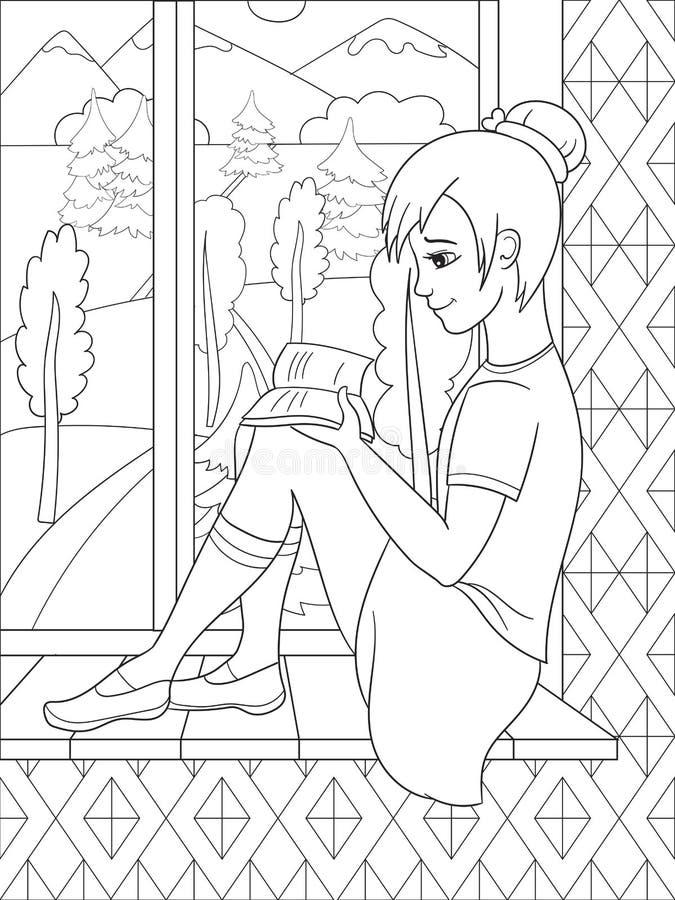 La belle fille s'asseyant sur un rebord de fenêtre et un livre lu, regardant livre de coloriage de fenêtre illustration stock