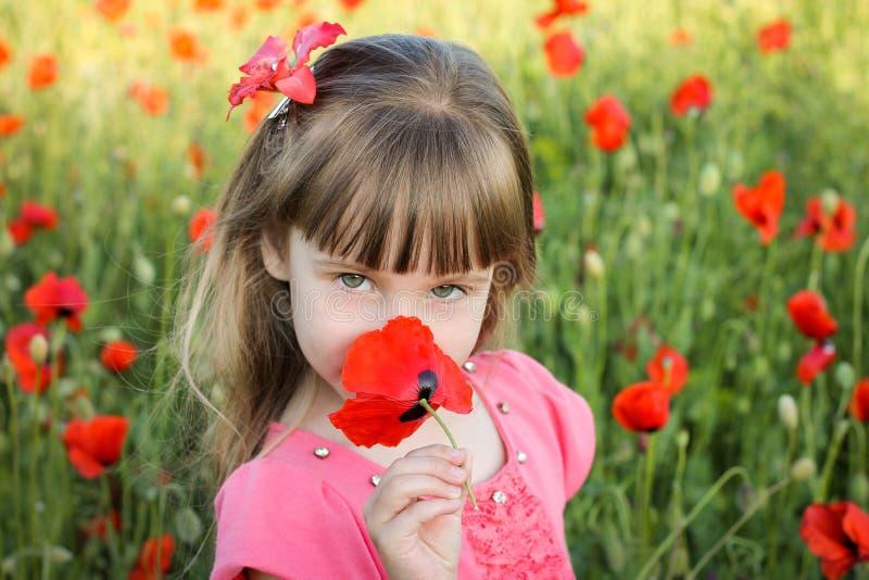 La belle fille sent la fleur photos stock