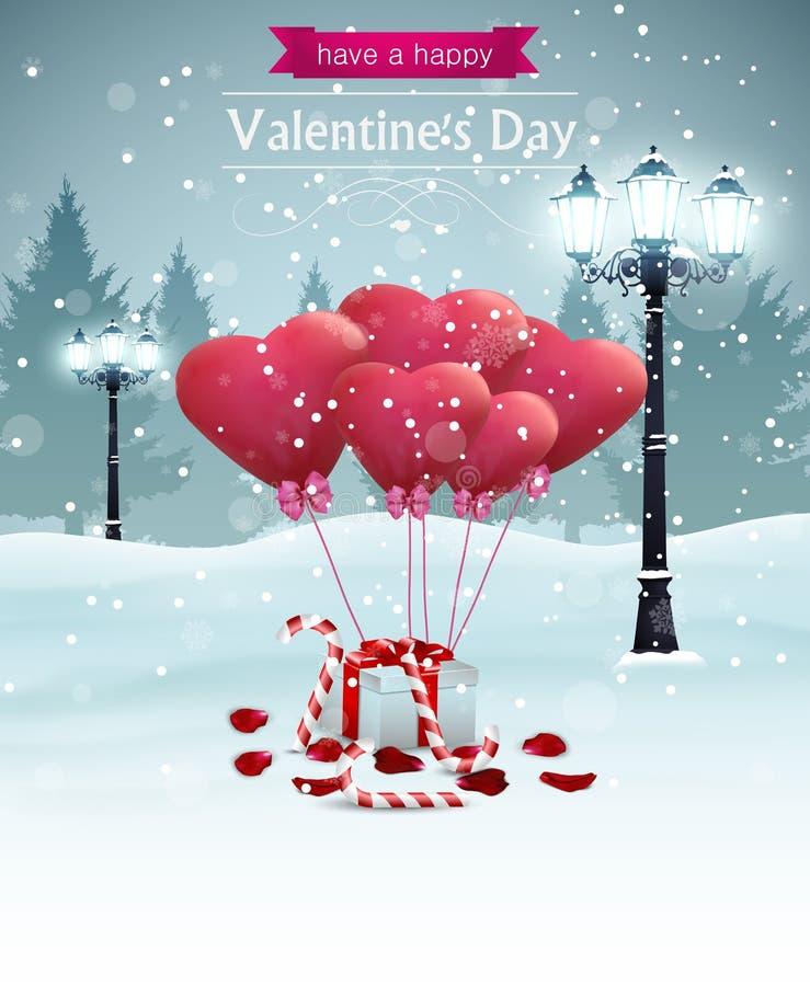 La belle forme de coeur de réverbères de largeur de carte de jour de valentines monte en ballon la sucrerie de pétales de rose illustration libre de droits