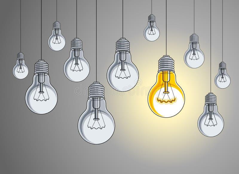 La belle illustration de vecteur d'ampoules avec la simple brillant, concept d'id?e, pensent diff?rent, se tiennent hors de la fo illustration de vecteur