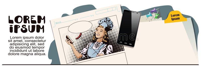 La belle jeune femme prépare un barbecue Les gens dans rétro illustration libre de droits