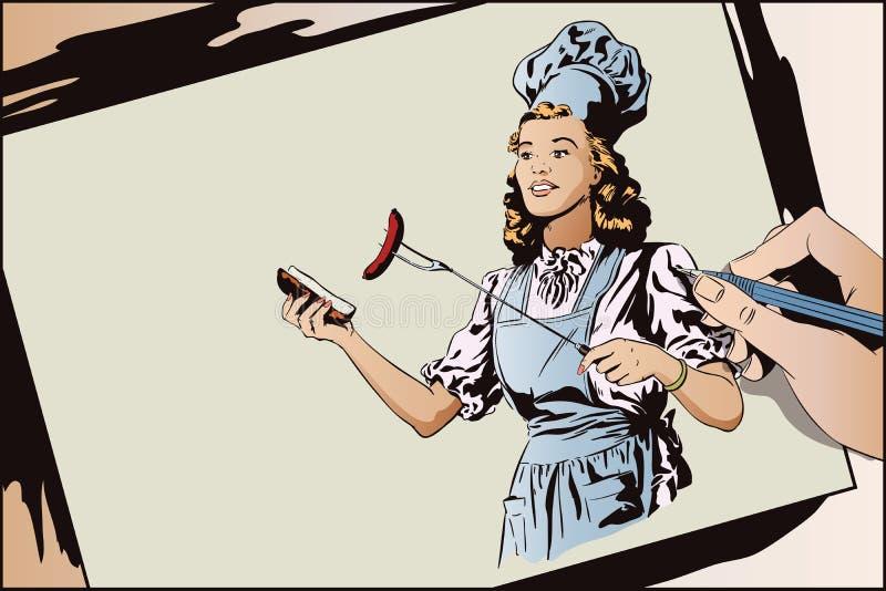 La belle jeune femme prépare un barbecue Les gens dans rétro s illustration stock
