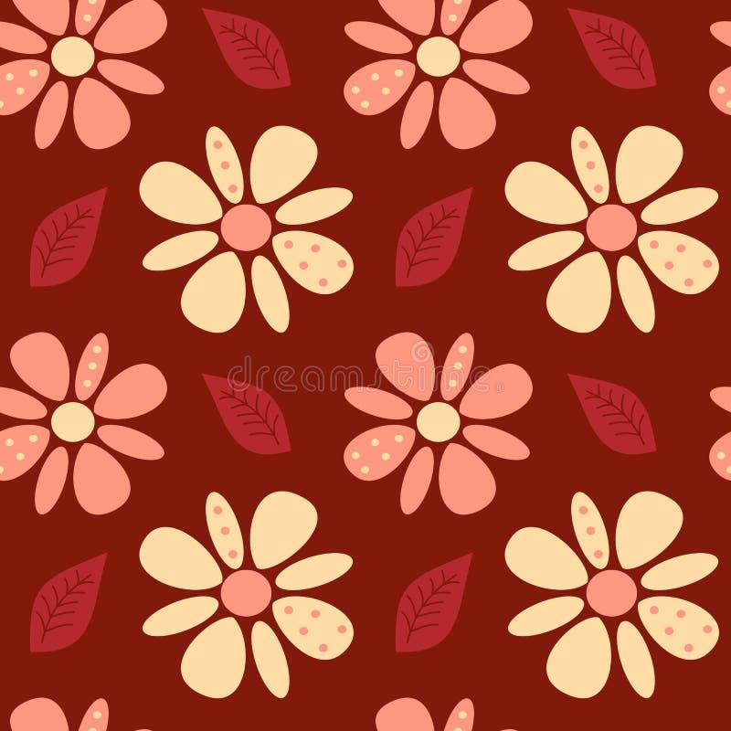 La belle marguerite abstraite mignonne fleurit sur l'illustration sans couture de modèle de fond rouge illustration de vecteur