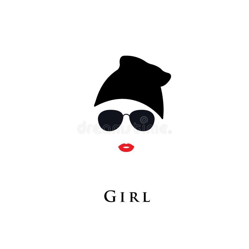 La belle mode d'avatar de fille sous-cultive les hippies supérieurs, jeune fille élégante illustration libre de droits