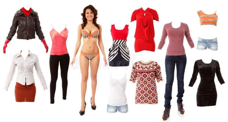 La belle mode de femme vêtx la collection images stock