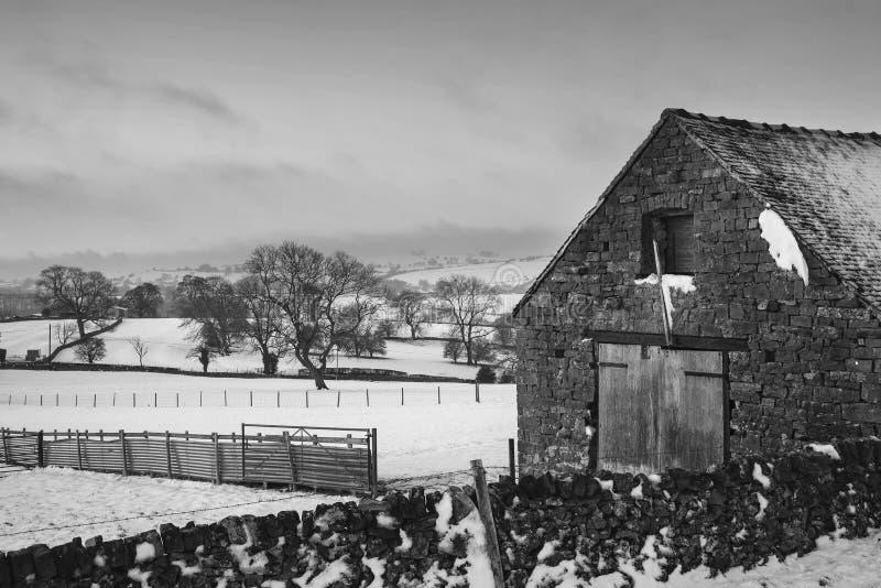 La belle neige a couvert le paysage rural d'hiver de lever de soleil dans le monochr photos libres de droits