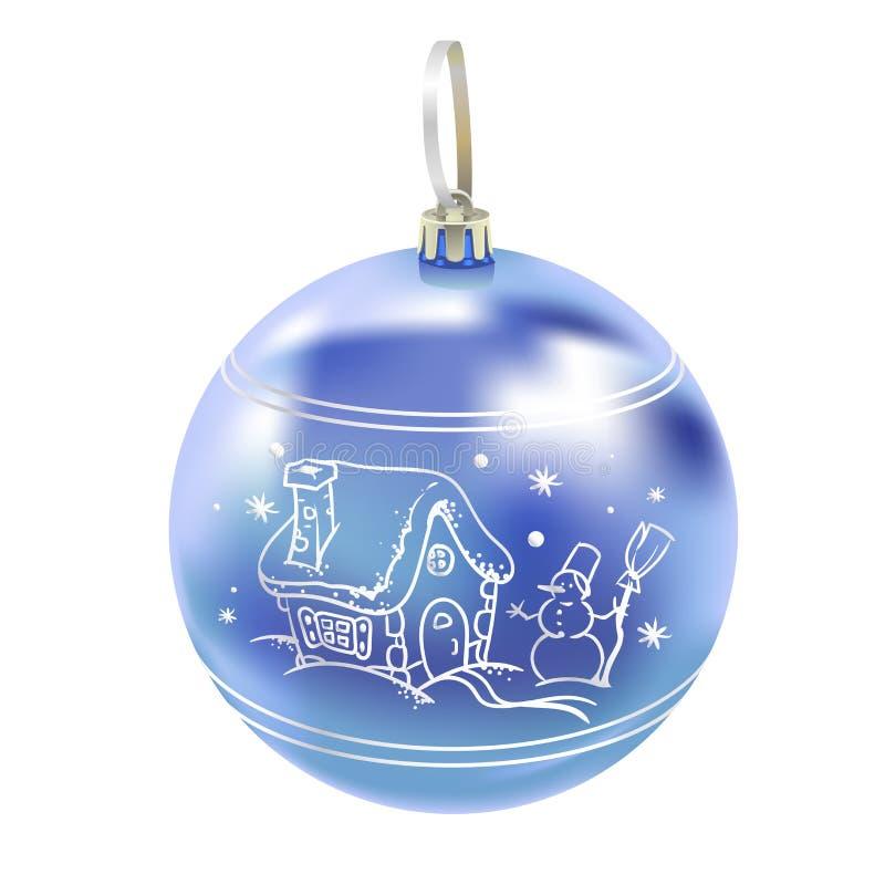 La belle nouvelle boule bleue vitreuse réaliste de l'année 3D avec se reflète et le modèle d'hiver d'isolement sur le fond blanc  illustration stock