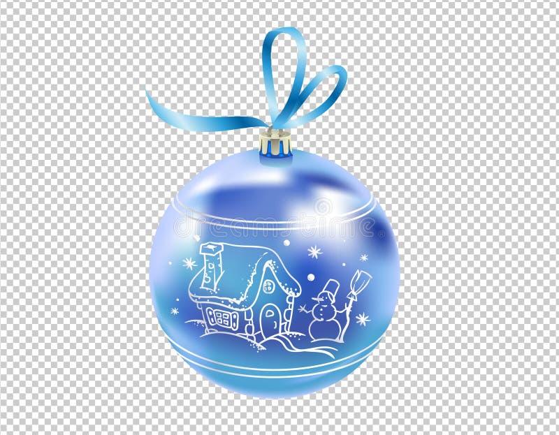 La belle nouvelle boule bleue vitreuse réaliste de l'année 3D avec se reflète et le modèle d'hiver d'isolement sur le fond transp illustration de vecteur