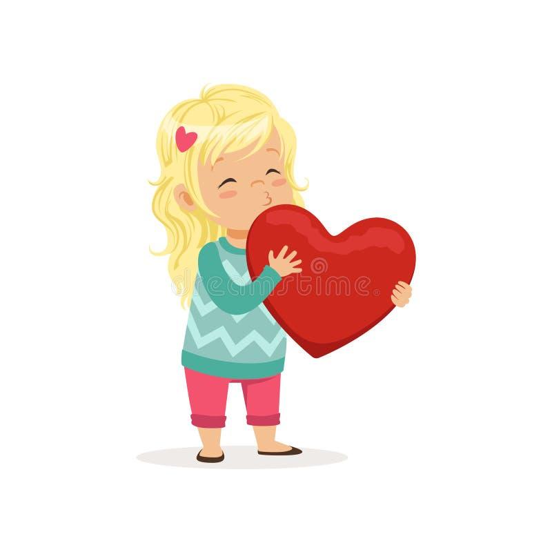 La belle petite fille blonde tenant le coeur rouge, le concept heureux de jour de valentines, l'amour et les relations dirigent l illustration libre de droits