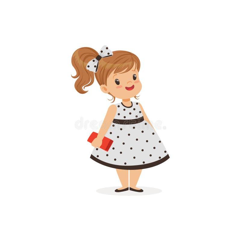 La belle petite fille dans la robe de point de polka, jeune dame s'est habillée dans la rétro illustration classique de vecteur d illustration de vecteur