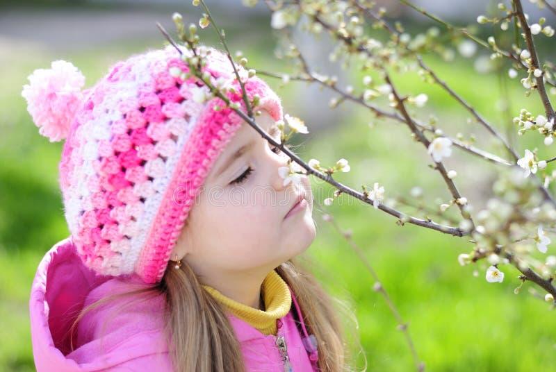 La belle petite fille près d'un arbre fleurissant images stock