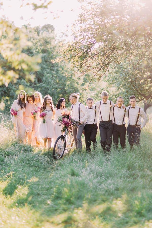 La belle photo des nouveaux mariés regardant l'un l'autre, les meilleurs hommes et les demoiselles d'honneur tenant les bouquets  images libres de droits