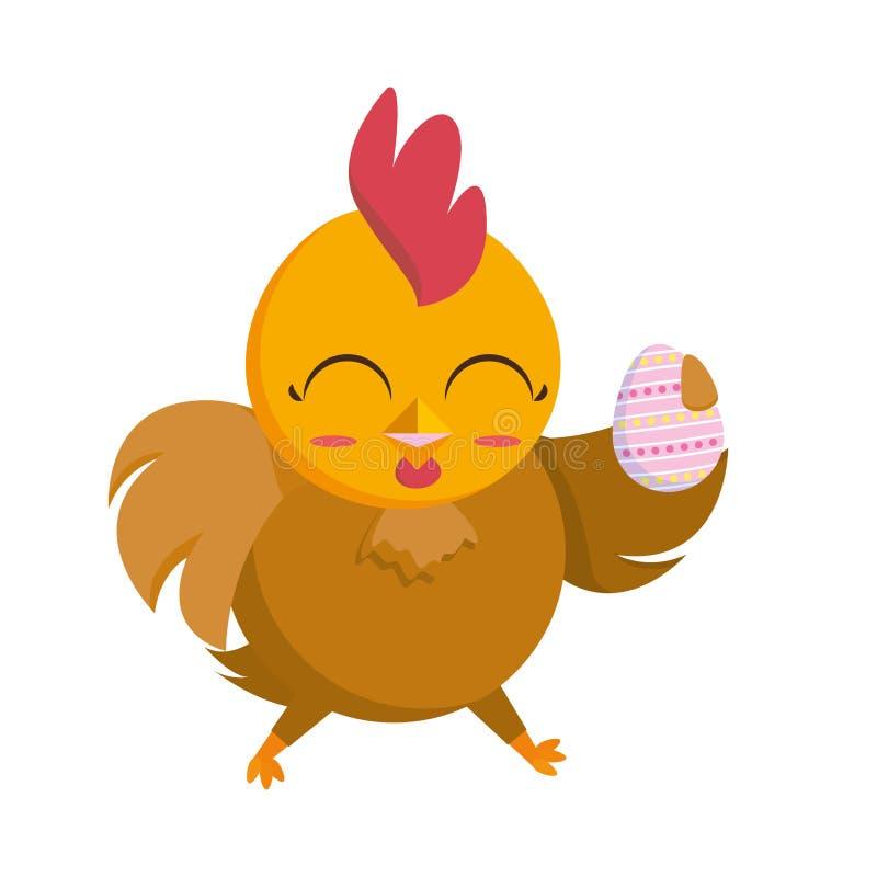 La belle poule avec l'oeuf a peint le caractère de Pâques illustration de vecteur