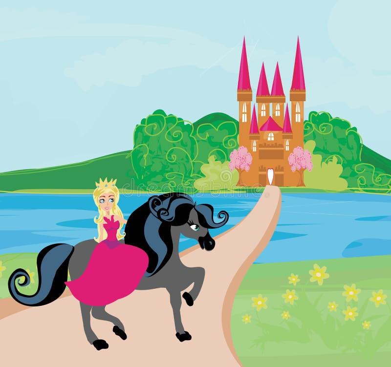 La belle princesse et son cheval mignon illustration libre de droits
