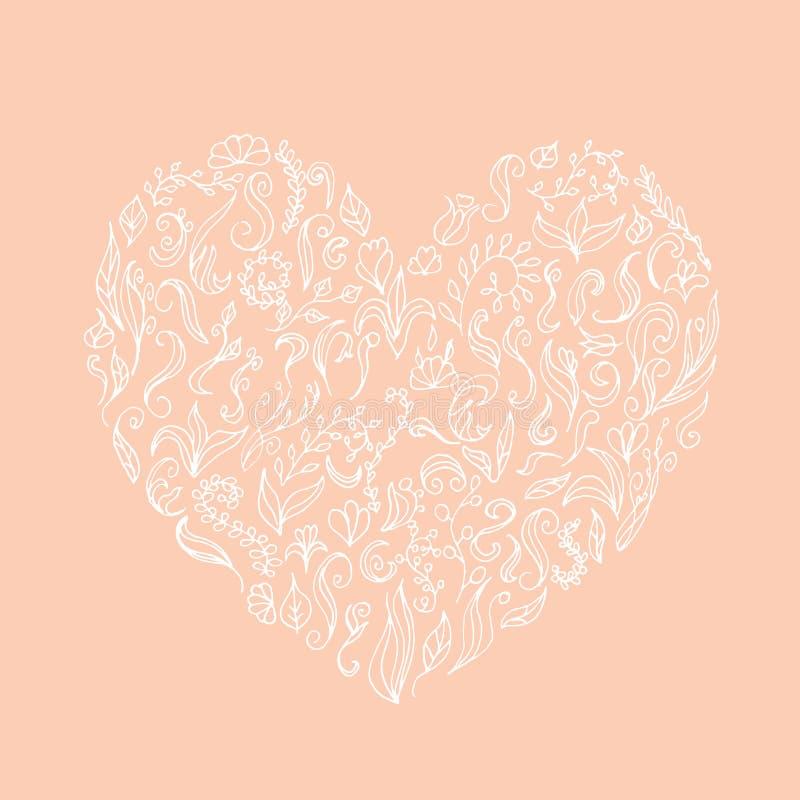 La belle silhouette blanche du coeur de la dentelle fleurit, des vrilles et des feuilles D'isolement sur le rose illustration de vecteur