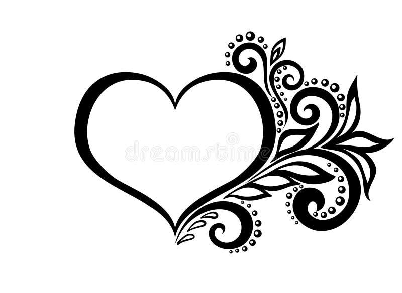 La belle silhouette du coeur de la dentelle fleurit, illustration libre de droits