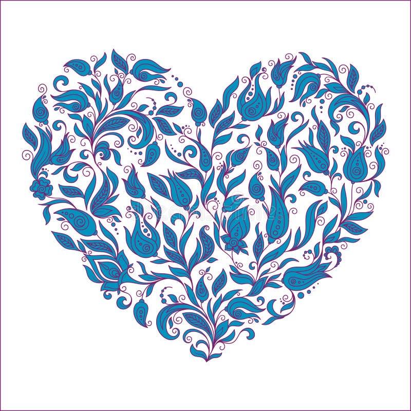 La belle silhouette du coeur de la dentelle fleurit illustration de vecteur