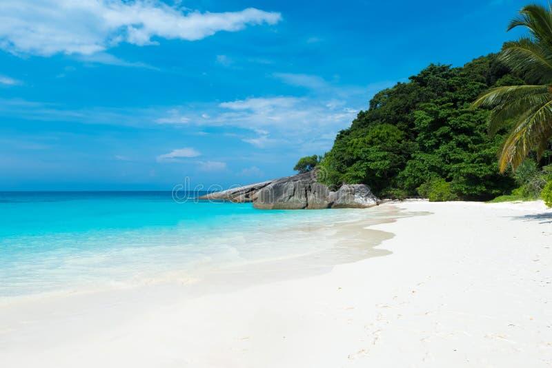 La belle vue avec le ciel bleu et les nuages, la mer bleue et le sable blanc échouent sur l'île de Similan, non 8 au parc nationa image libre de droits