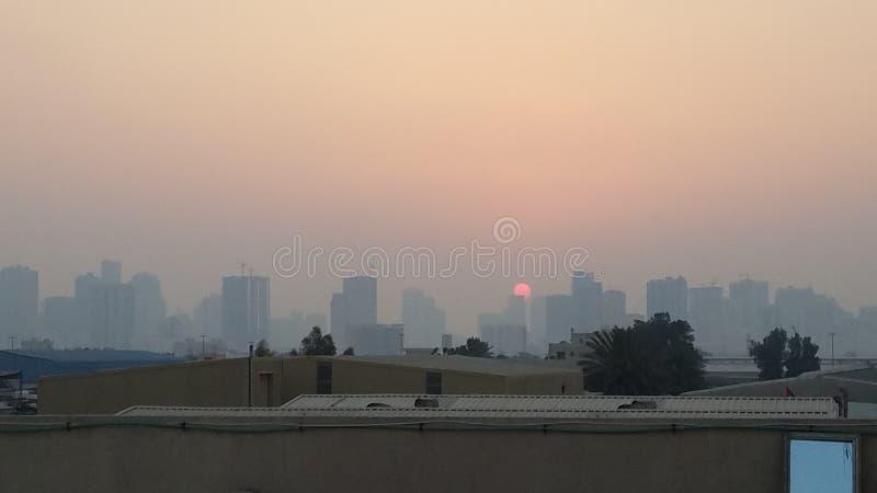 La belle vue de coucher du soleil a capturé photo stock