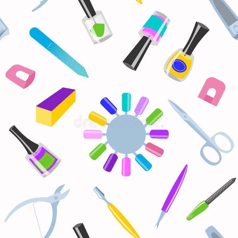La belleza de la salud de la manicura y de la mano del pie de la pedicura forma a vector de los instrumentos de los fingeres del  stock de ilustración