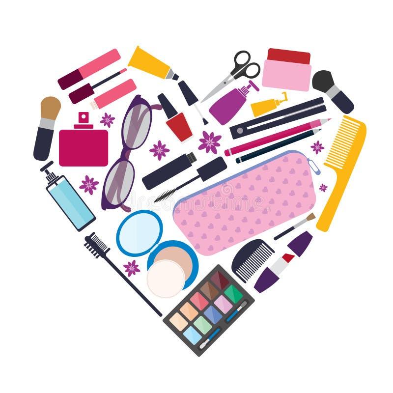 La belleza y el cuidado, productos cosméticos y componen elementos ilustración del vector
