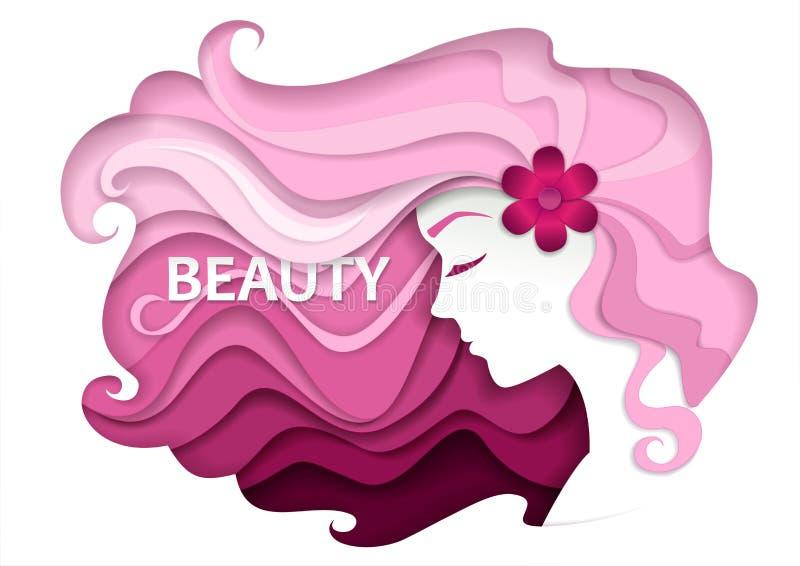 La belleza y el salón de pelo vector el ejemplo en estilo de papel moderno del arte libre illustration