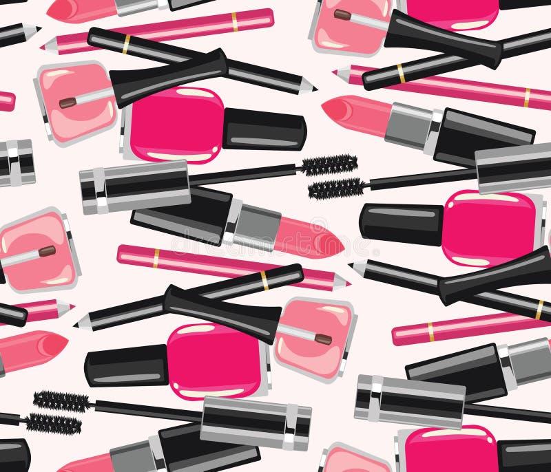 La bellezza compone il modello senza cuciture dei cosmetici di modo illustrazione vettoriale