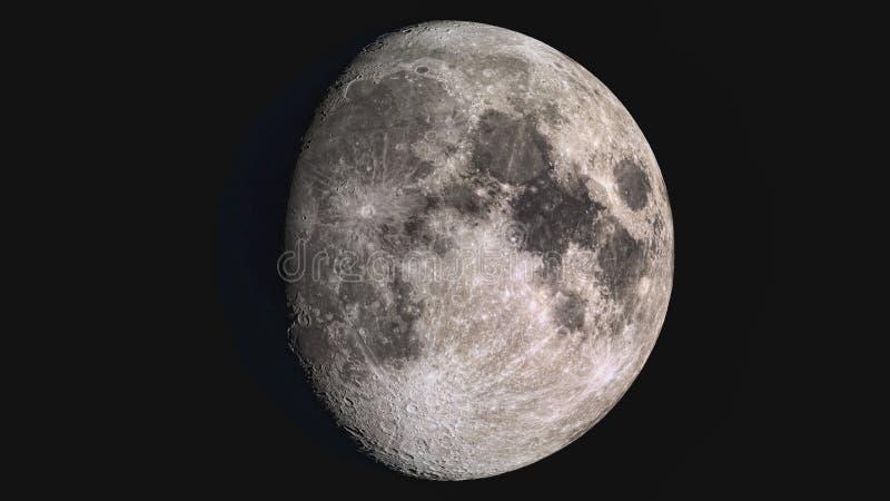 La bellezza dell'universo: Luna gibbous d'inceratura dettagliata eccellente meravigliosa fotografie stock