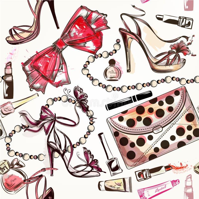 La bellezza ed il modo vector i truccatori o dei cosmetici dell'acquerello royalty illustrazione gratis