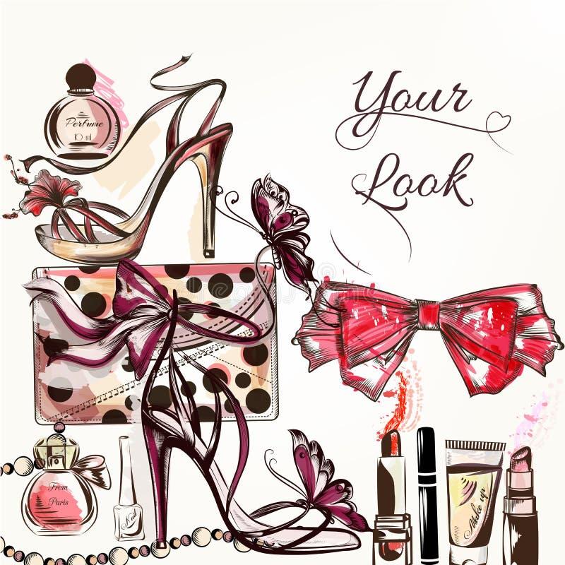 La bellezza ed il modo vector il fondo dell'acquerello con i cosmetici m. illustrazione vettoriale