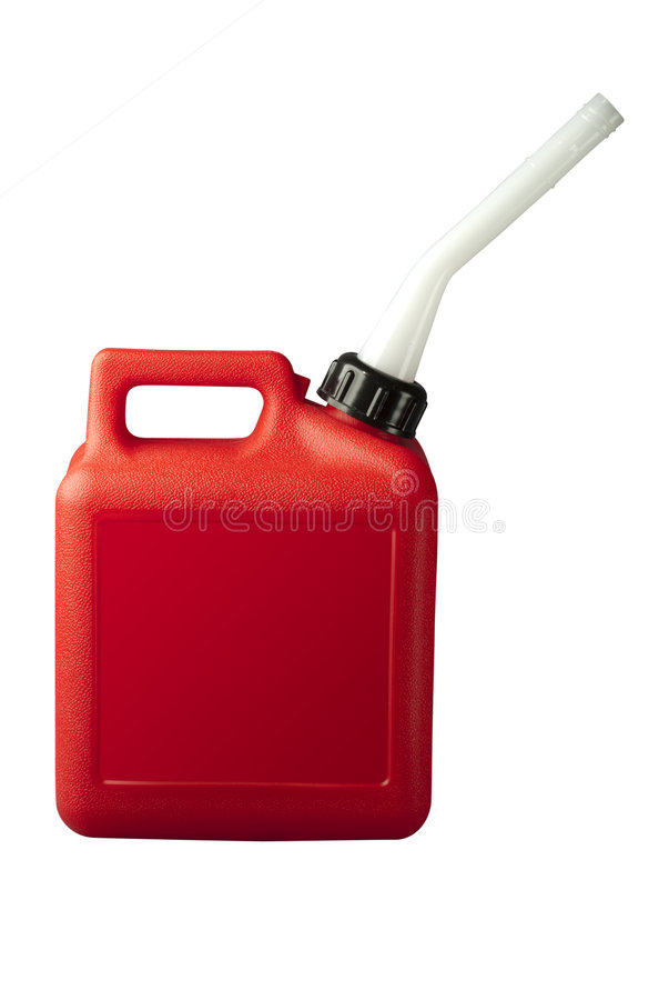 La benzina può con il percorso di residuo della potatura meccanica fotografia stock