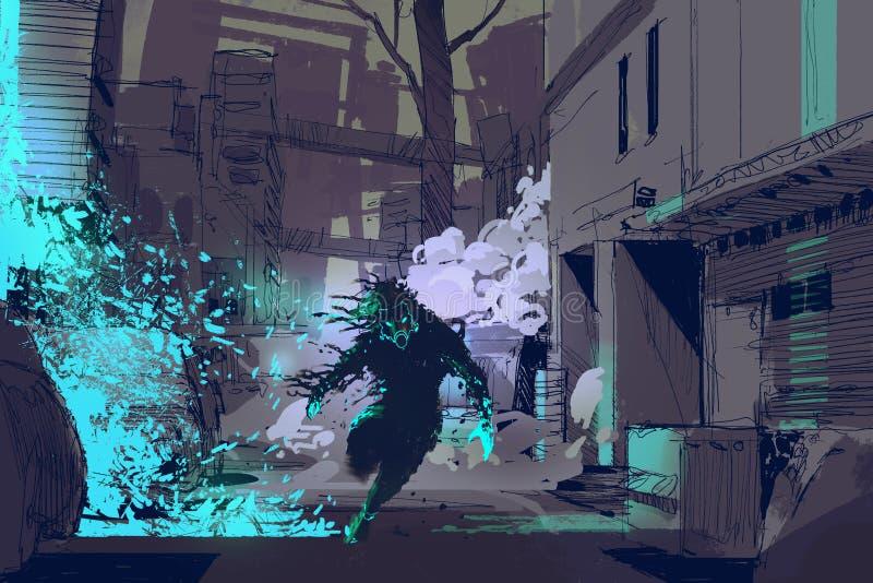 la bestia futurista que corre de partículas ligeras azules stock de ilustración