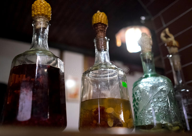 La bevanda alcolica tradizionale dell'ucranino GORILKA in bottiglie ha tappato dalla pannocchia fotografia stock libera da diritti