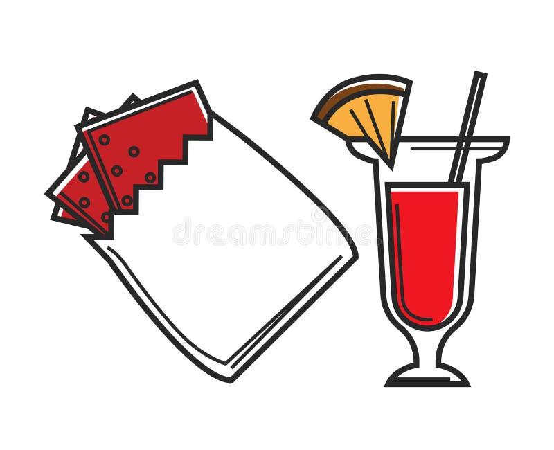 La bevanda del biscotto e del cocktail dello spuntino di Singapore ha isolato gli oggetti illustrazione vettoriale