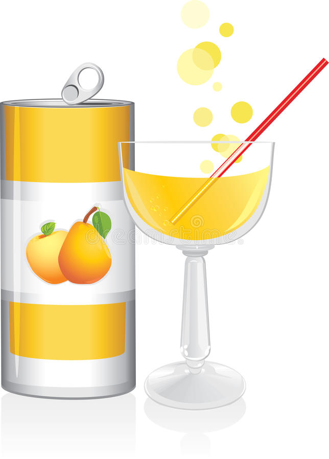 La bevanda di alluminio possono ed il vetro di vino con il succo di frutta illustrazione vettoriale
