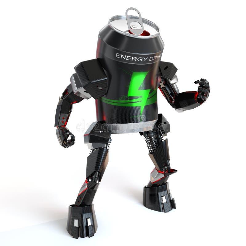 La bevanda di energia può robot illustrazione di stock