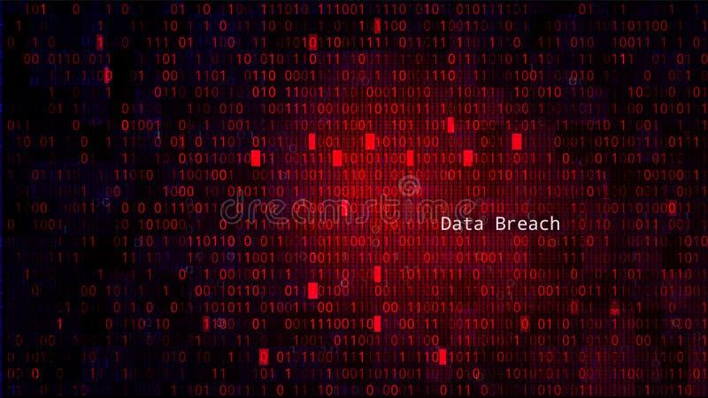 La BG rouge avec des nombres de code binaire Infraction de donn?es illustration stock