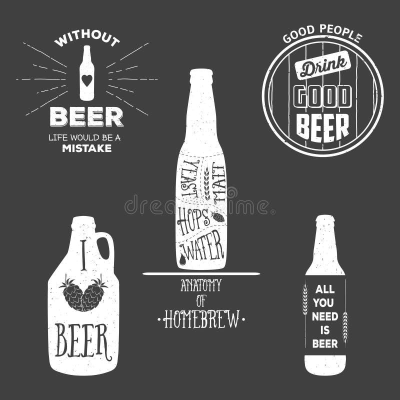 La bière de vintage symbolise, des labels et des éléments de conception illustration libre de droits