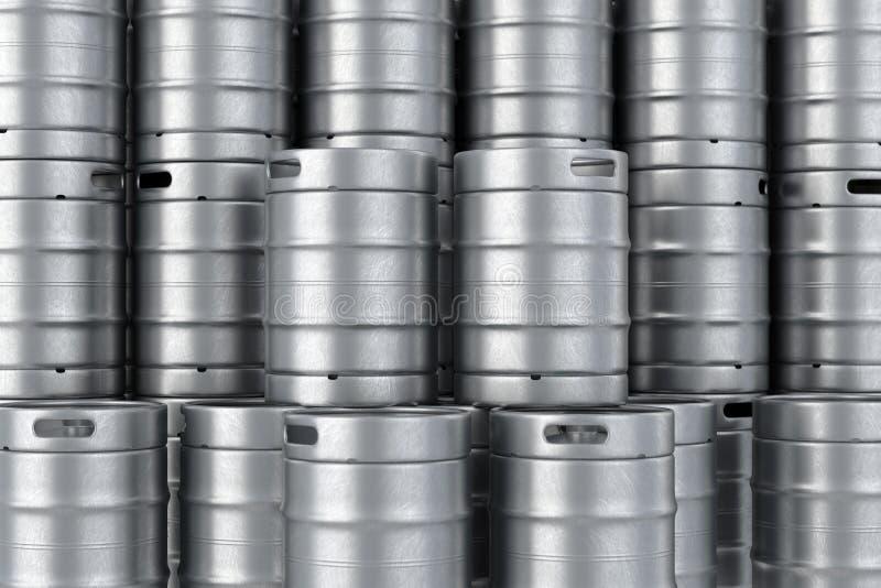 La bière en métal met le fond en tonneau de pile illustration 3D images stock