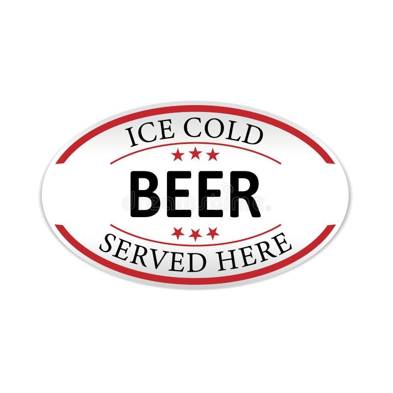La bière glacée a servi ici l'icône d'insigne de Web de label illustration de vecteur