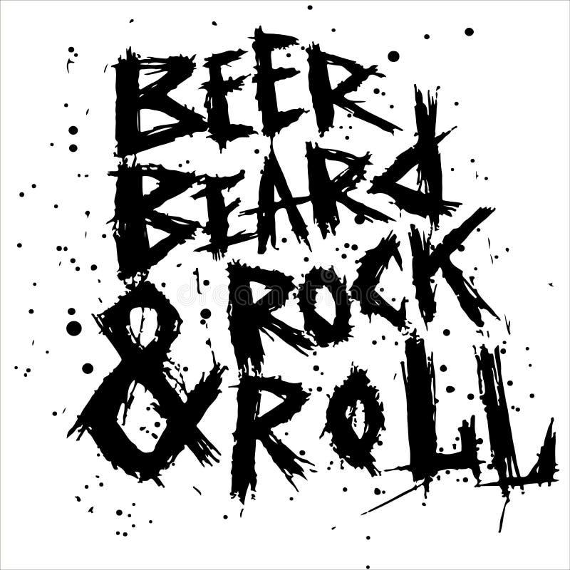 La bière, la barbe et la roche d'affiche de vintage roulent - le lettrage tiré par la main unique illustration de vecteur