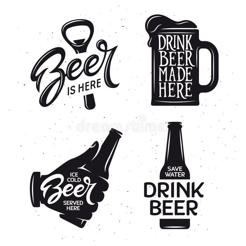 La bière a rapporté l'ensemble de typographie Illustration de lettrage de vintage de vecteur illustration de vecteur