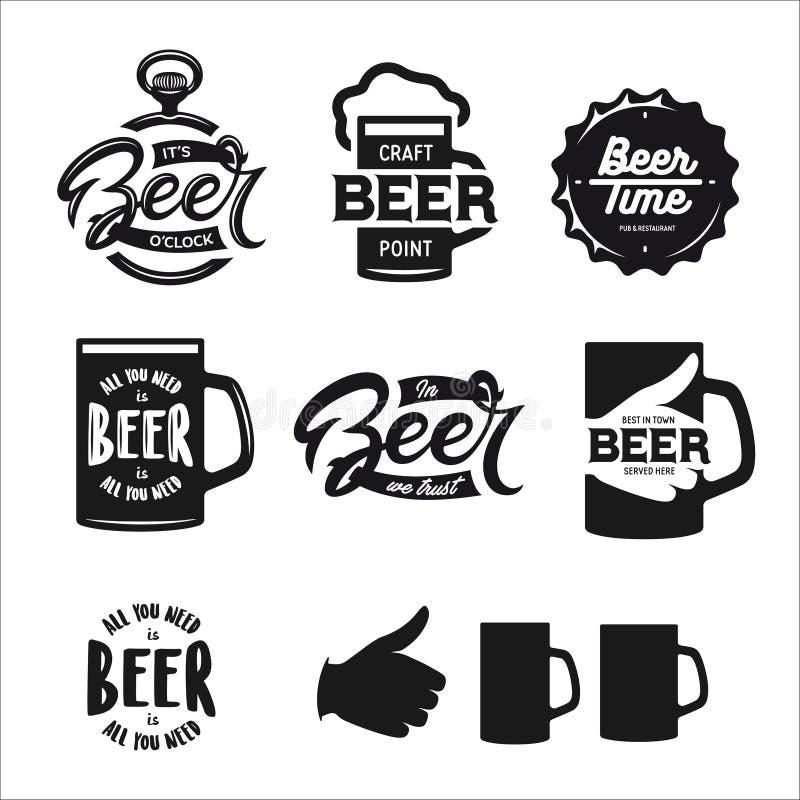 La bière a rapporté l'ensemble de typographie Illustration de lettrage de vintage de vecteur illustration stock